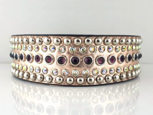Dog collar Diva in pink metallic Italian leather with amethyst and AB Swarovski crystals