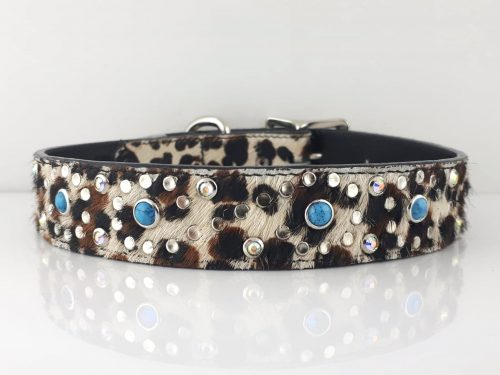 Dog collar Turquoise S Baby Leopard Turquoise AB TSBLBT
