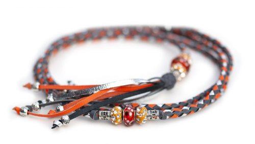 Kangaroo leather show leash in grey, orange & silver
