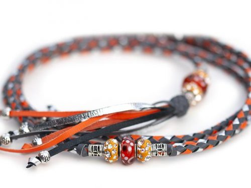 Kangaroo leather show leash in grey, orange & silver