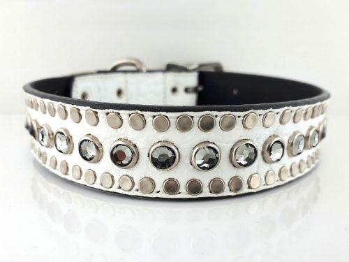 Dog collar All Swarovski in white Italian crocko leather with black diamond Swarovski crystals