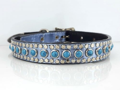 Dog Collar All Turquoise in blue metallic Italian leather with blue turquoise