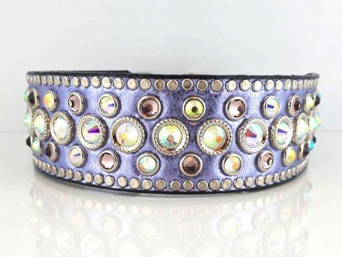 Princess Crystal in lavender metallic Italian leather with AB & light sapphire Swarovski crystals