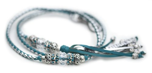 Kangaroo leahter show lead turquoise silver