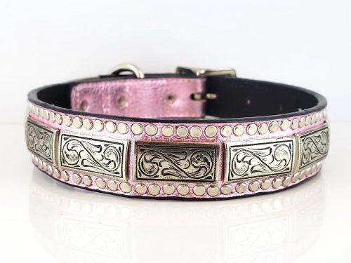 Dog collar K9 Square in pink metallic Italian leather