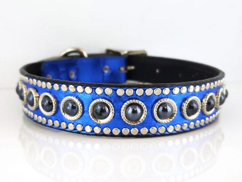 Dog collar Edge in blue metallic Italian leather and black suede with black pearls