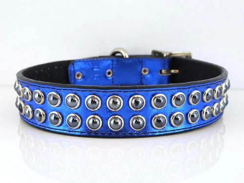 Dog collar Mucho in blue metallic Italian leather and black suede with black pearls