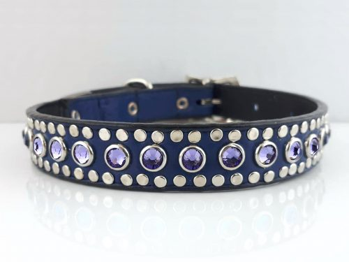 Dog collar All Swarovski in indigo Italian leather with velvet Swarovski crystals