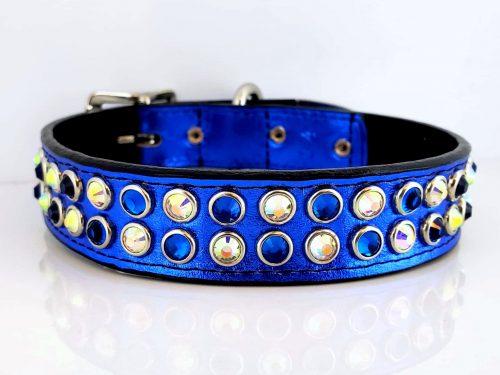 Dog collar Mucho in royal blue metallic Italian leather with Bermuda Blue & AB Swarovski crystals