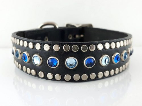 Dog Collar All Swarovski in black Italian leather with aqua and Bermuda blue Swarovski crystals