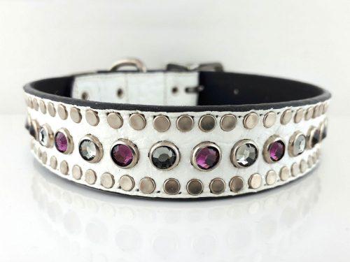 Dog collar All Swarovski in white Italian crocko leather with black diamond & amethyst Swarovski crystals