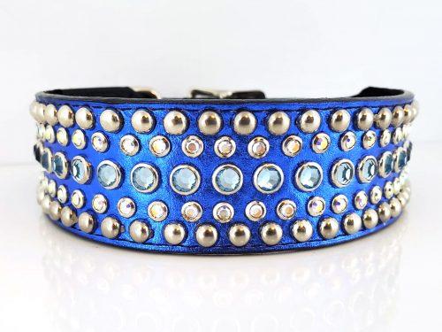 Dog collar Diva in royal blue metallic Italian leather with aqua and AB Swarovski crystals