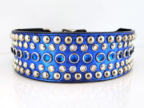 Dog Collar Diva in blue metallic Italian leather with Bermuda blue and AB Swarovski crystals