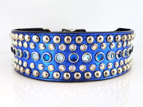 Dog collar Diva in royal blue metallic Italian leather with Bermuda blue, aqua and AB Swarovski crystals