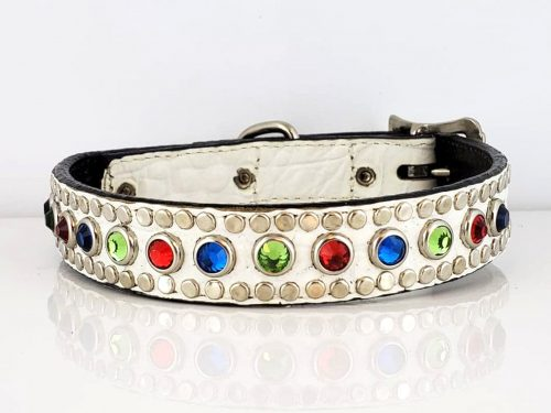Dog Collar All Swarovski White Crocko Siam, Bermuda Blue, Peridot