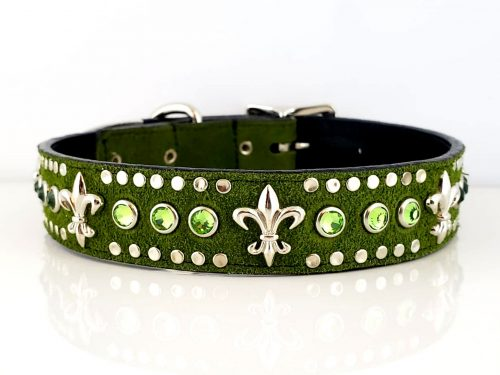 Dog Collar Fleur De Crystal in green suede and Italian leather with peridot crystals and fleur de lis ornaments