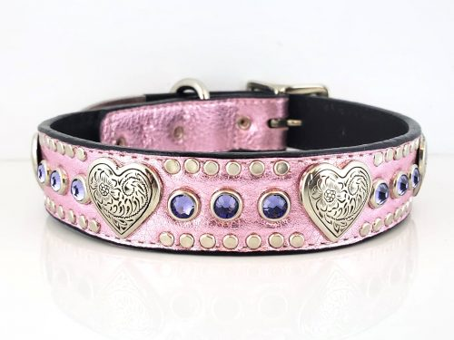 Dog collar Heart & Crystal in pink metallic Italian leather with velvet Swarovski crystals