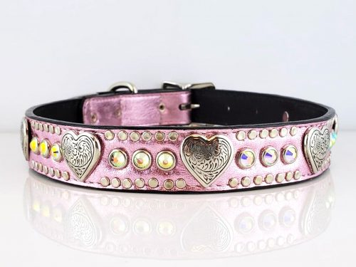 Dog collar Heart and Crystal Pink Metallic with AB