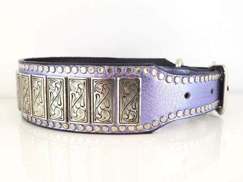 Dog Collar K9 Upright in lilac metallic Italian leather