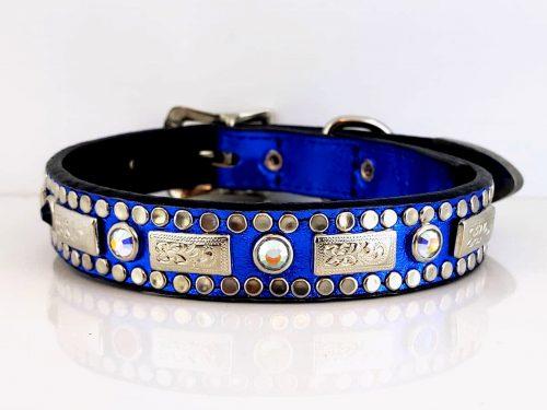 Dog collar Square Crystal in royal blue metallic Italian leather with AB Swarovski crystals