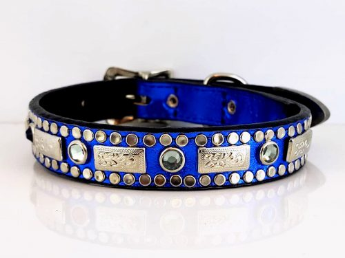 Dog collar Square Crystal Royal Blue Metallic Black Diamond