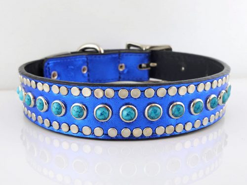 Dog collar All Turquoise in royal blue metallic Italian leather with blue turquoise