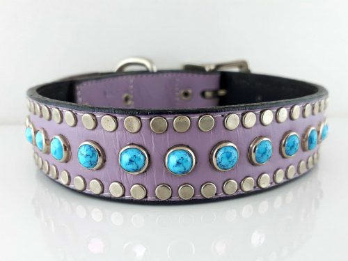 Dog collar All Turquoise in lavender Italian leather with blue turquoise