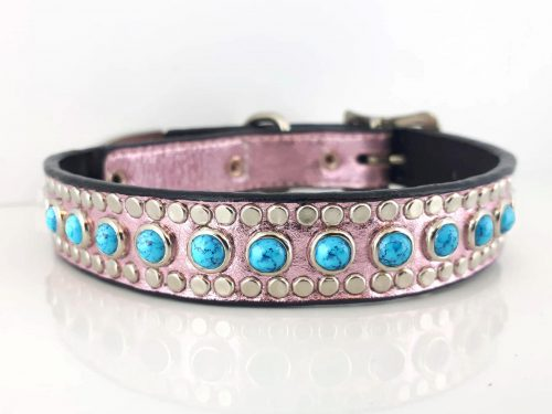Dog collar All Turquoise in pink metallic Italian leather with blue turquoise