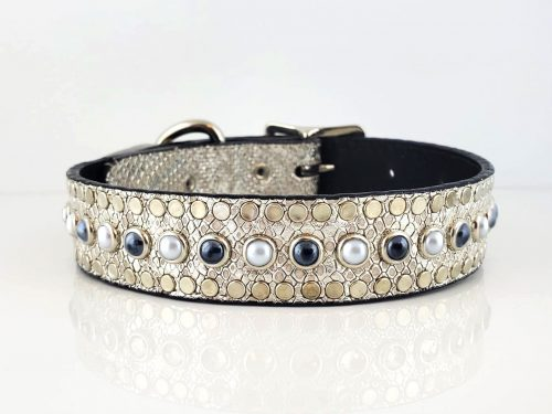All Pearl in silver snake metallic Italian leather with black & white pearls