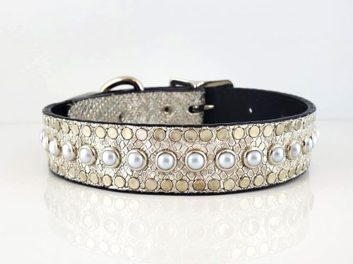 All Pearl in silver snake metallic Italian leather with white pearls