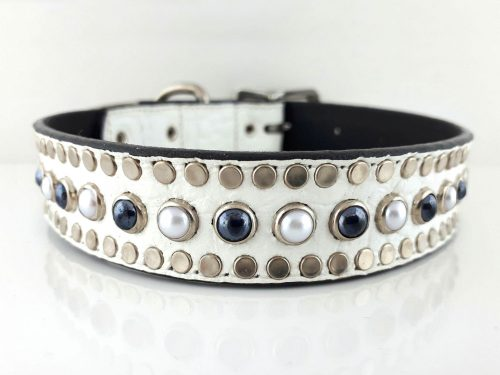 All Pearl in white Italian crocko leather with black & white pearls