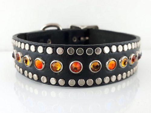All Swarovski in black Italian leather with fire opal & smoke Swarovski crystals