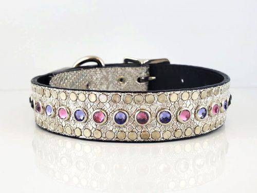 All Swarovski in silver snake metallic Italian leather with rose & velvet Swarovski crystals