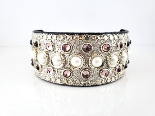 Princess Pearl in silver snake metallic Italian leather with pearls and light amethyst Swarovski crystals