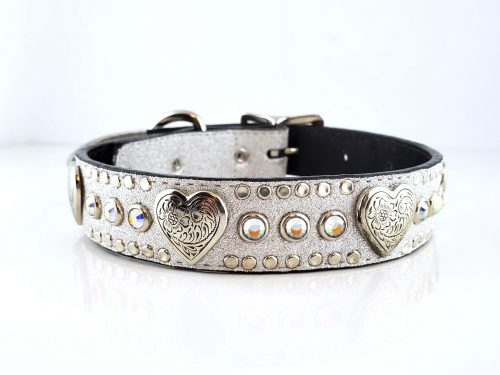 Dog Collar Heart & Crystal in Italian silver stardust leather with AB Swarovski crystals