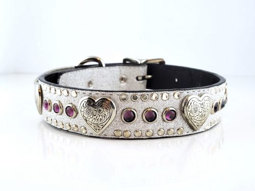 Dog Collar Heart & Crystal in Italian silver stardust leather with amethyst Swarovski crystals