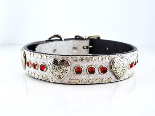 Dog Collar Heart & Crystal in Italian silver stardust leather with siam Swarovski crystals