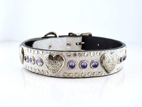 Dog Collar Heart & Crystal in Italian silver stardust leather with velvet Swarovski crystals