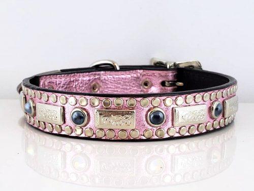 Dog Collar Square Pearl in pink metallic Italian leather with black pearls