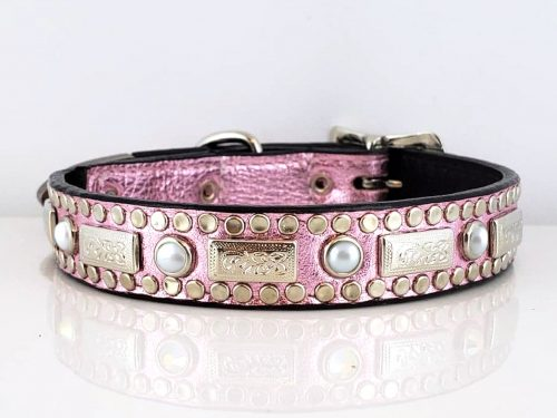 Dog Collar Square Pearl in pink metallic Italian leather with white pearls
