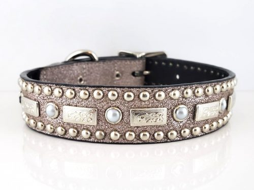Dog Collar Square Pearl in charcoal stardust Italian leather with white pearls