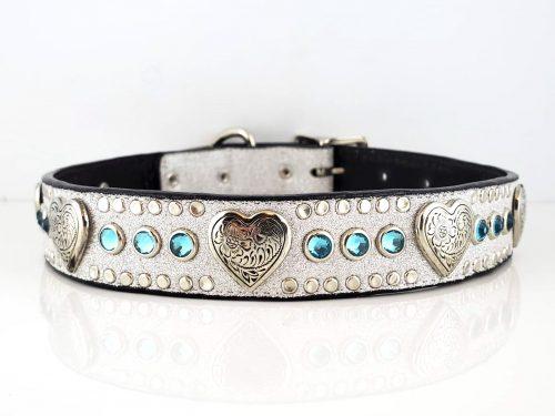 Heart & Crystal in Italian silver stardust leather with aqua Swarovski crystals