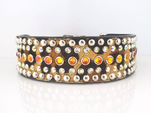 Diva in Italian leather and baby leopard cowhair with fire opal and AB Swarovski crystals