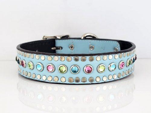 Dog collar All Swarovski in sky blue Italian leather with rose, aqua & peridot Swarovski crystals
