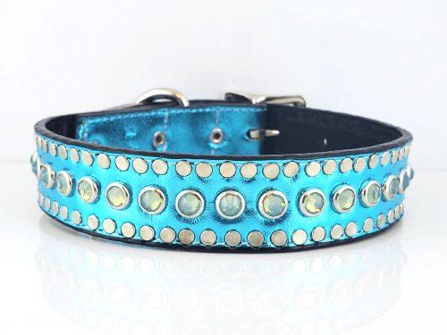 Dog collar All Swarovski in turquoise metallic Italian leather with sea foam Swarovski crystals