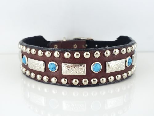 Square Turquoise in brown Italian leather with blue turquoise