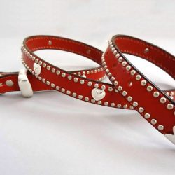 Heart belt in red Italian leather with heart ornaments