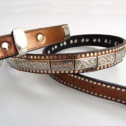 K9 Square belt in bronze metallic Italian leather