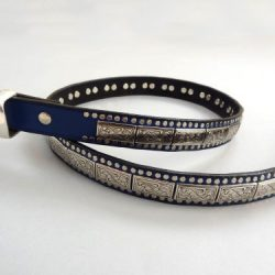 K9 Square belt in indigo Italian leather