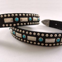 Square Turquoise belt in black Italian leather and blue turquoise